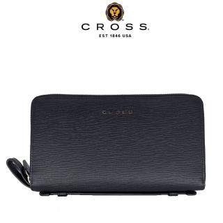 CROSS 奢華十字紋頭層牛皮雙拉鍊手拿包