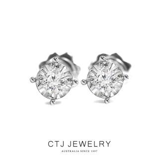 【CTJ】20分簡約18K金鑽石耳環(特殊奇蹟光面工藝)