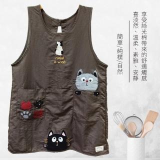【BonBon naturel】刺繡絲光棉可愛貼布圍裙-三隻貓/兩色可挑選(圍裙/工作服/烘焙圍裙/背心裙)