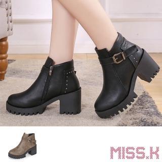 【MISS.K】細緻鉚釘百搭皮帶釦飾防水台粗跟短靴(2色任選)