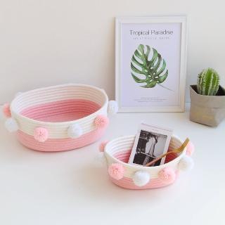 【收納職人】簡約北歐ins風棉線毛球編織裝飾置物籃/收納籃_粉色(小)