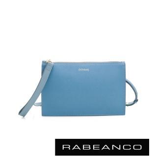 【RABEANCO】EONI十字壓紋牛皮手拿/斜背包(淺藍)
