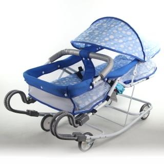 【Babybabe】坐躺兩用雙管加寬型彈搖床-附蚊帳(藍圓點)