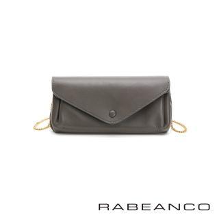 【RABEANCO】質感平滑牛皮手拿/斜背鏈帶皮夾包(灰)