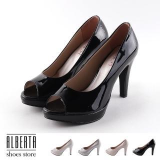 【Alberta】跟鞋-前2 後9.5cm 亮面皮質/金蔥 魚口細跟高跟鞋 宴會跟鞋 MIT台灣製