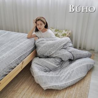 【BUHO布歐】極柔暖法蘭絨5尺雙人床包+舖棉暖暖被150x200cm四件組(多款任選)
