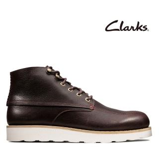【Clarks】蹤履隨型 輕量厚底縫線設計工裝靴(酒紅色)