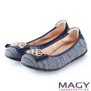 【MAGY】甜美舒適 金屬造型飾扣鬆緊帶牛皮娃娃鞋(藍色)
