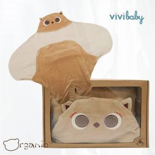 【Organic】有機棉貓頭鷹懶人包巾/嬰兒包巾禮盒(禮盒裝)