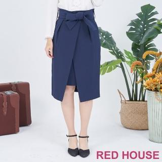 【RED HOUSE 蕾赫斯】蝴蝶結綁帶鉛筆裙(共二色)