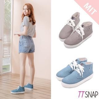 【TTSNAP】休閒鞋-MIT細緻水洗帆布綁帶厚底鞋(灰)