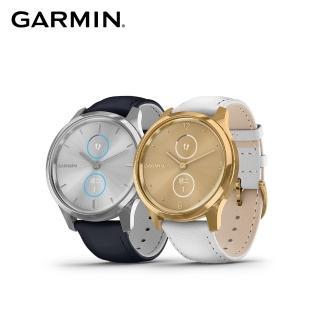 【GARMIN】vivomove luxe 指針智慧腕錶(皮革錶帶)