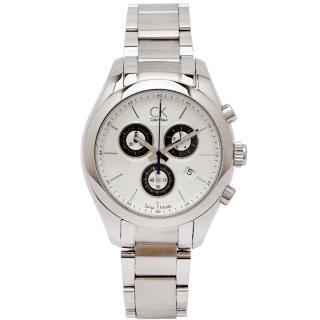 【Calvin Klein】CK 三眼計時不鏽鋼錶帶手錶-銀白色面x銀色/38mm(K0K28120)