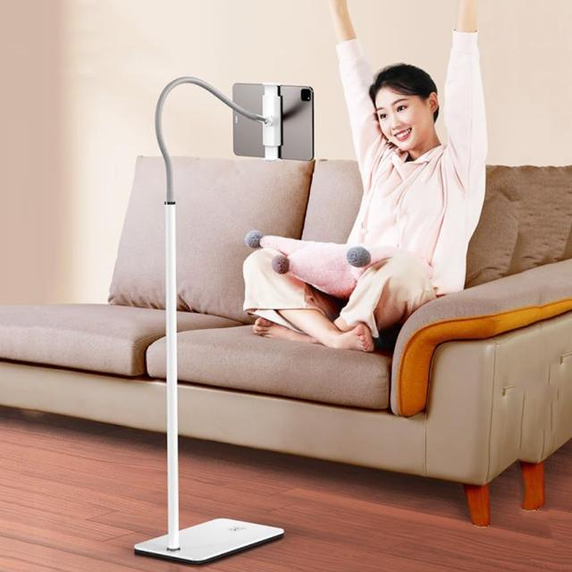 【升級版】懶人救星強韌耐用手機平板落地支架-白色(適合直播使用)/