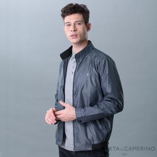 【ROBERTA 諾貝達】輕薄休閒 橫條紋夾克外套(藍灰)