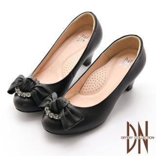 【DN】跟鞋_優雅浪漫鑽飾蝴蝶結真皮跟鞋(黑)