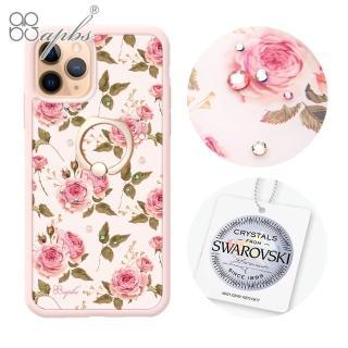 【apbs】iPhone 11 Pro 5.8吋施華彩鑽防摔指環扣手機殼(玫瑰)