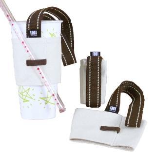 【IHERMI】素色 棕色提把 環保提杯套(飲料提袋 環保杯套 環保提袋 帆布 8安帆布 帆布包)