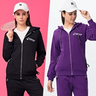 【NOFAH】2019春秋新款情侶裝休閒修身運動兩件套針織套裝 100%精梳厚棉絨套組(套裝、外套、休閒褲)