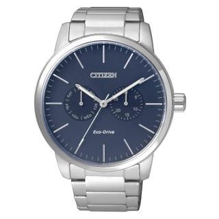 【CITIZEN 星辰】極簡風格光動能腕錶(藍/AO9040-52L)