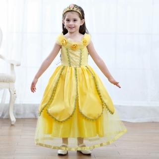 【橘魔法】黃色公主洋裝 不含魔法棒.皇冠(長裙 洋裝 女童 長洋裝 萬聖節造型服)