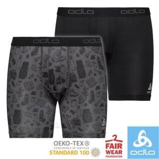 【ODLO】男款 Active Everyday 機能型立體剪裁排汗內褲-2件組.平口褲.衛生褲(141002 石墨灰/印花/黑)
