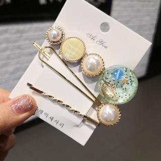 【HaNA 梨花】韓國星空炫彩珍珠髮夾3件套