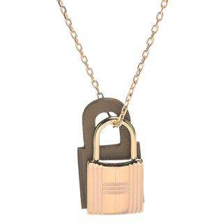 【Hermes 愛馬仕】經典OKelly系列鎖頭造型吊墜項鍊(小-赭色X金H078852CC-ETOUPE)