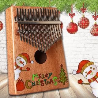 【美佳音樂】奧福樂器 Kalimba 卡林巴琴/拇指琴-超值全配.17音桃花芯木單板-聖誕鑲貝限量款(贈旅行包)