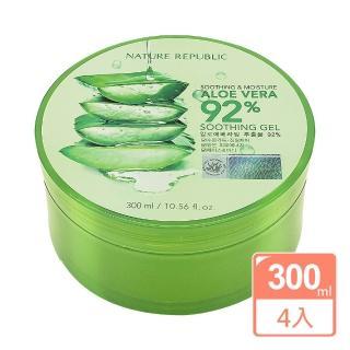 【NATURE REPUBLIC】92%蘆薈補水修護保濕凝膠蘆薈凝膠(300ml 買三送一)