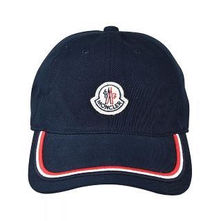 【MONCLER】MONCLER刺繡LOGO紅白黑織帶設計棉布棒球帽(藍)