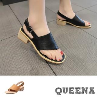 【QUEENA】復古斜口露趾設計感粗跟羅馬涼鞋(3色任選)