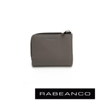 【RABEANCO】歐系經典單拉鍊短夾(灰)
