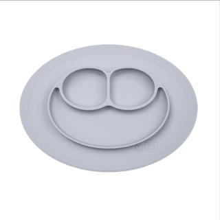 【美國ezpz】mini mat迷你餐盤+餐墊:星塵灰(FDA認證矽膠、防掀倒寶寶餐具)