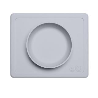 【美國ezpz】mini bowl迷你餐碗+餐墊:星塵灰(FDA認證矽膠、防掀倒寶寶餐具)