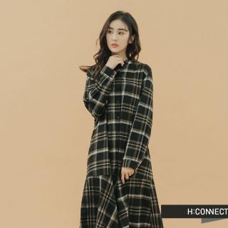 【H:CONNECT】韓國品牌 女裝 -格紋排釦魚尾洋裝(黑色)