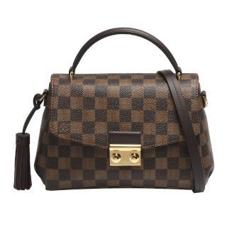 【Louis Vuitton 路易威登】N53000 經典CROISETTE Damier帆布金屬壓釦造型手提/斜背包(咖啡)