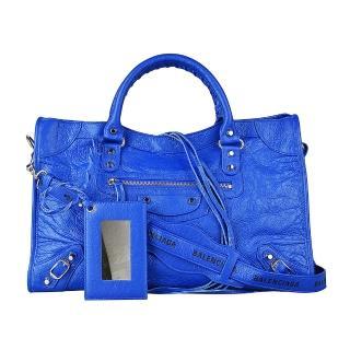 【Balenciaga 巴黎世家】BALENCIAGA巴黎世家CITY印花黃字LOGO小羊皮銀釦手提斜背機車包(藍)