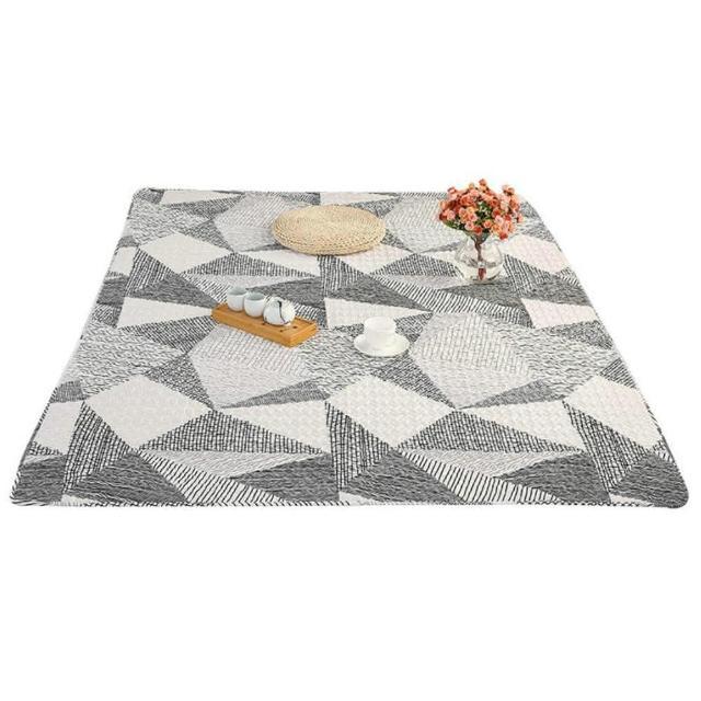 北歐純棉地墊沙發墊防滑墊地毯遊戲爬行墊110*180cm-大理石灰/