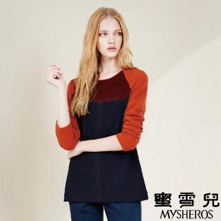 【mysheros 蜜雪兒】三色塊拼接造型上衣(橘紅)