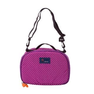 【Roland】斜背式夢幻餐具包 餐袋-點點紫