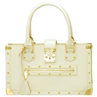 【Louis Vuitton 路易威登】M91815 全球限量品Suhali系列金屬鉚釘山羊皮肩背包(米白)
