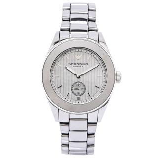 【EMPORIO ARMANI】Ceramica 純粹時尚鈦陶瓷手錶 -銀灰色貝殼面X銀灰色/39mm(AR1463)
