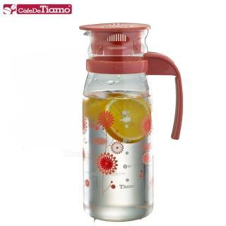 【Tiamo】1215玻璃冷水壺 1200ml-花草紅(HG2107)