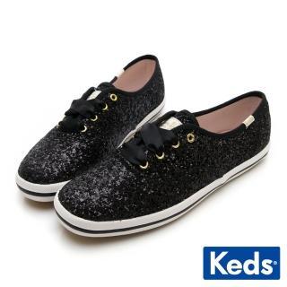 【Keds】X Kate Spade 聯名款 Champion 閃耀亮片綁帶休閒鞋(黑)