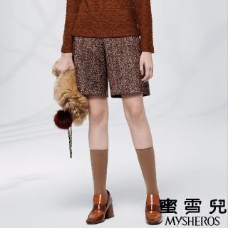 【mysheros 蜜雪兒】毛呢羊毛高腰短褲(咖啡)