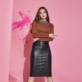 【ICHE 衣哲】都會立領3D鑲飾亮片時尚造型上衣-咖