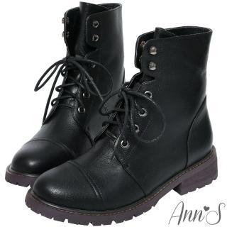 【Ann'S】無畏經典-帥氣6孔綁帶小羊皮短靴(黑)