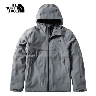 【The North Face】The North Face北面男款灰色防水透氣衝鋒衣|49B8DYY