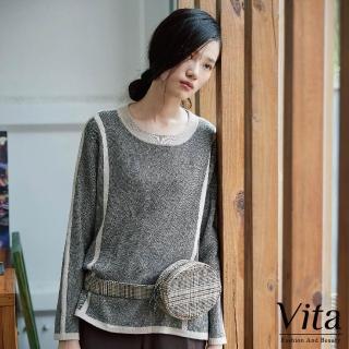 【mysheros 蜜雪兒】VITA 復古羊毛雙色邊針織衣(灰)
